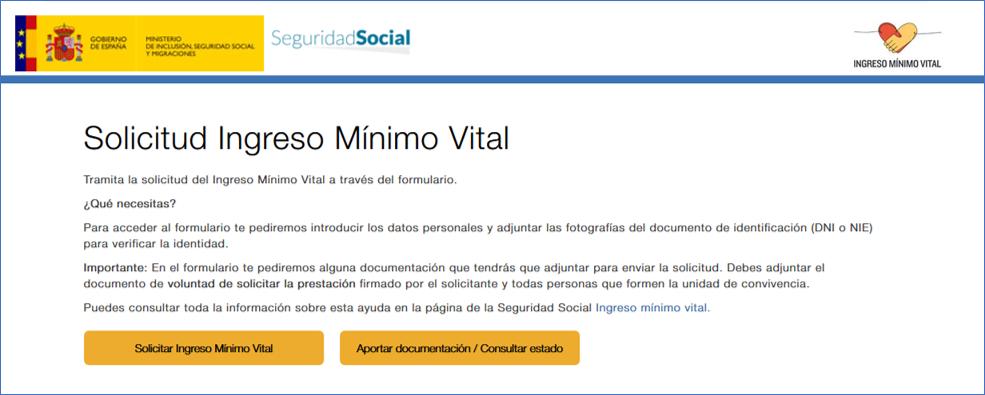 solicitud ingreso minimo vital